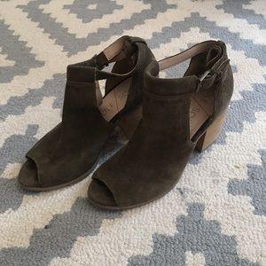 Olive Sole Society wood block heel open toe bootie